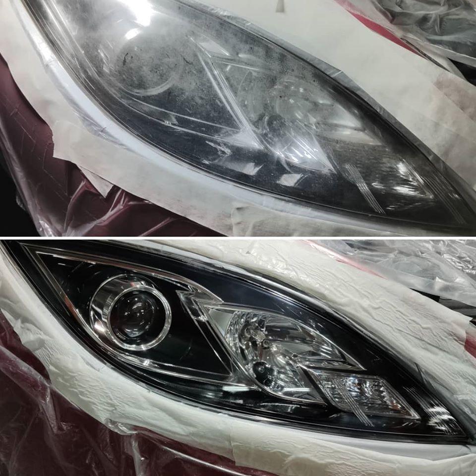 Antes y después de un pulido de faros de coche