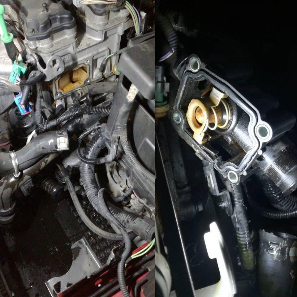 reparación sistema refrigerante de motor. sustitución del termostato